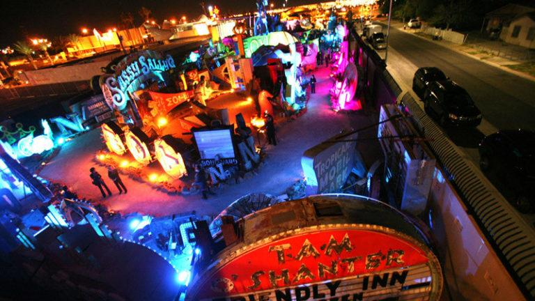 People walk through the Neon Museum at 770 Las Vegas Boulevard  during the Grand Lighting ceremony Tuesday, Oct. 23, 2012.The museum, which has more than 150 vintage neon signs, will open to the public  on Oct. 27.  (Jeff Scheid/Las Vegas Review-Journal)