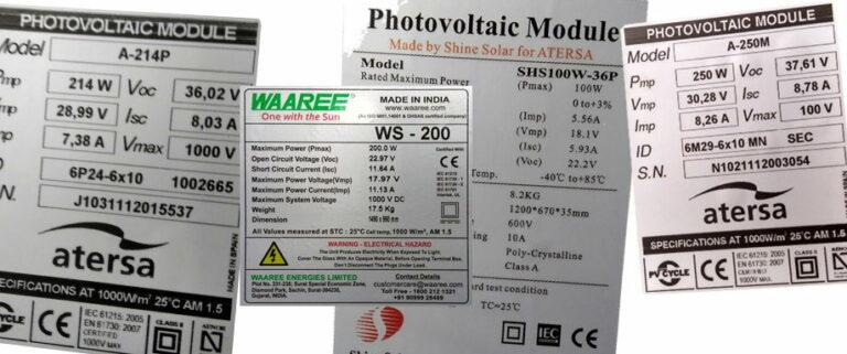 Ficha técnica de un panel solar